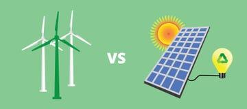 Grön energisolpanel vs kontra vektor för vindturbin Fotografering för Bildbyråer