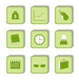 grön etikett för symbol 9 Royaltyfri Bild