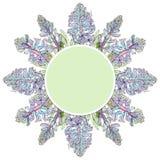 Grön etikett med blåa hyacintblommor Arkivbild