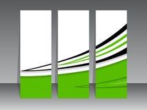 Grön etikettuppsättning med svart swoosh Arkivbilder