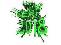 Grön explosion för lyckligt nytt år 2018 Stock Illustrationer