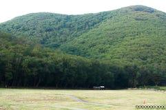 Grön fält- och bergkulle Royaltyfria Bilder