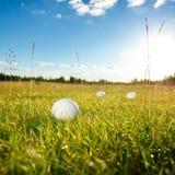 Grön fält- och vitgolfbollsanset Arkivfoton