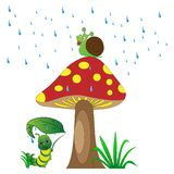 Grön färg Caterpillar i regnet under champinjonen med snigeln stock illustrationer