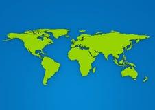 Grön färg 3D pressade ut världskartan på blå bakgrund Vektor Illustrationer