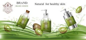 Grön färg för kosmetiska produkter med kiwin för organiskt Arkivbilder