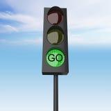 Grön färg på trafikljuset stock illustrationer