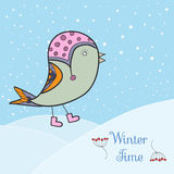 Grön fågel för vinter vektor illustrationer
