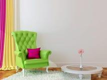 Grön fåtölj i inre Royaltyfria Foton