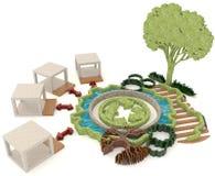 Grön förnybara energikällor för modern livsstil i 3D Arkivbilder