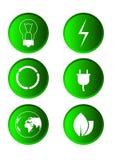 Grön förnybara energikällor - sparande Eco knappuppsättning Arkivbild