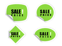 grön försäljningsetikett Arkivbild