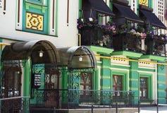 Grön fasad av radhuset Arkivfoto
