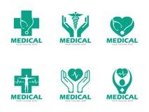 Grön fastställd design för läkarundersökning- och hälsovårdlogovektor Royaltyfria Bilder