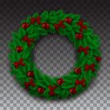 Grön filial av granen i form av en julkrans med skugga Röda pilbågebollar och pärlor på bakgrundskontrollörerna Royaltyfri Foto
