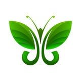 Grön fjäril, bladform, vektorillustration Arkivfoto