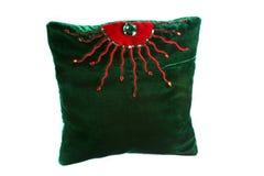 Grön formgivare Pillow Arkivfoto
