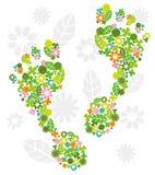 Grön fot vektor illustrationer