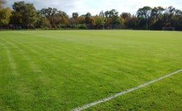 grön fotboll för fält arkivfoto