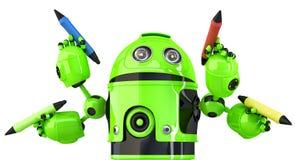 Grön fyra-arm robot med blyertspennor Multitaskingbegrepp Innehåller den snabba banan illustration 3d Arkivbild