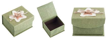 Grön gåvaask från olik sikt Royaltyfria Bilder