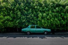 Grön gammal bil framme av den gröna häcken Royaltyfri Foto