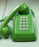 grön gammal telefon Fotografering för Bildbyråer