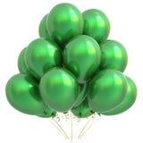 Grön garnering för lycklig födelsedag för ballongparti Royaltyfri Bild