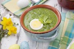 Grön Gazpacho soppa med ägg arkivbild