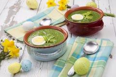 Grön Gazpacho soppa med ägg fotografering för bildbyråer