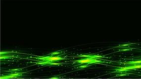 Grön genomskinlig abstrakt skinande magisk kosmisk magisk energi fodrar, rays med viktig och prickar och ljusa morgonrodnader på  stock illustrationer