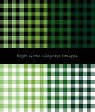 Grön gingham och skogsarbetare Seamless Designs Stock Illustrationer