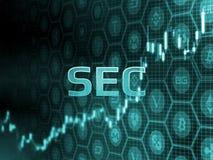 Grön glödande text på stearinljuspinnediagram med bitcoin och alt-myntbakgrund Sekund-beslut som godkänner ETF fonden royaltyfri illustrationer