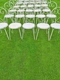Grön gräsmatta med tomma vita stolar Arkivbilder