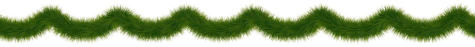 Grön grangirland för garneringar för jul och för nytt år royaltyfri illustrationer