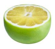 Grön grapefrukt, raring, vit grapefrukt som isoleras på vita lodisar Royaltyfria Foton