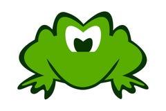 Grön groda för tecknad film med snälla ögon och den svarta slaglängden royaltyfri illustrationer