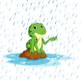 Grön groda med lyckligt leende stock illustrationer
