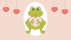 Grön groda som rymmer en hjärta och blinkaögon, livlig illustration stock illustrationer