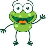 Grön groda som vinkar och hälsar Arkivfoton