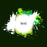 grön grungefärgstänk för ram Arkivfoto