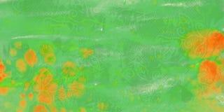 Grön grungevattenfärgbakgrund med fläckar stock illustrationer