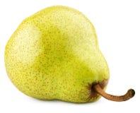 Grön gul päronfrukt som isoleras på vit arkivfoto