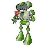 Grön gullig robot Arkivbild