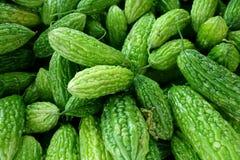 Grön gurka för asiat på marknaden Arkivfoto
