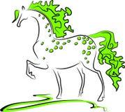 grön häst Arkivfoto