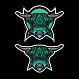 Grön höglands- nötkreaturvektormaskot royaltyfri illustrationer