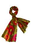 Grön halsduk med blom- design Royaltyfri Fotografi