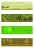 Grön halv banerbakgrundsuppsättning. stock illustrationer