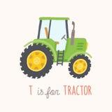 Grön hand dragen traktor Arkivfoton